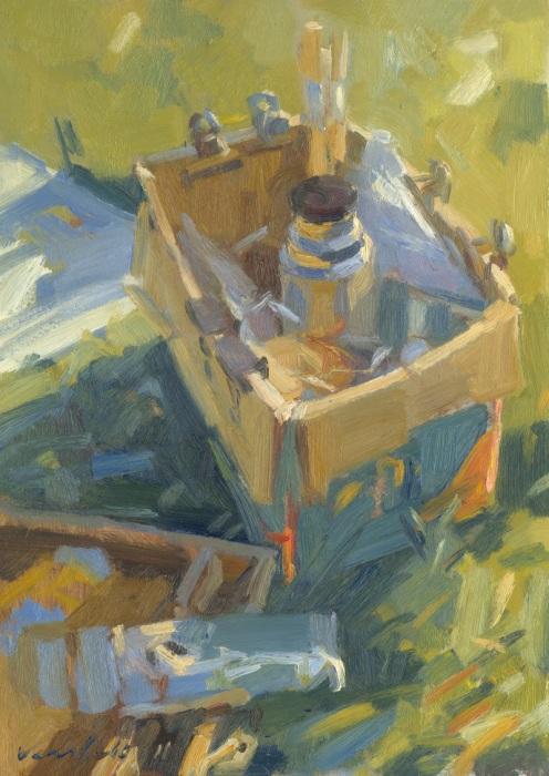 Schilderspullen in kartonnen doos