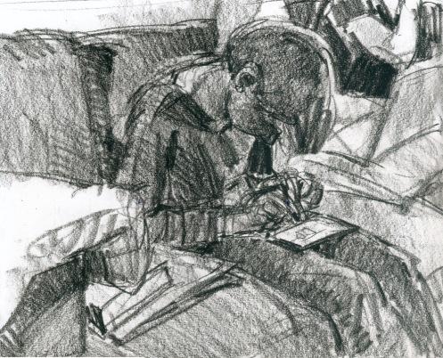 tekening jongen met telefoon